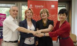 La secretaria general de Inserta Empleo, Virginia Carcedo, y la directora de la Fundación Novia Salcedo, Begoña Etxebarria, han firmado esta mañana en Bilbao un acuerdo para promover la inclusión laboral de los jóvenes con discapacidad.